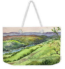 Weekender Tote Bag featuring the painting Creek In The Hills Watercolor Landscape  by Irina Sztukowski