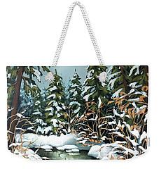 Creek, Winter, Snow Weekender Tote Bag