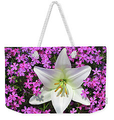 Weekender Tote Bag featuring the photograph Creeping Fuchsia Phlox With Lily by Nancy Lee Moran