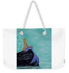 Weekender Tote Bag featuring the painting Crescent Mermaid Moon Fairy by Leslie Allen