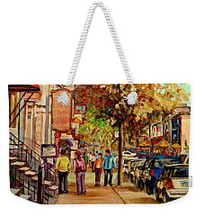 Weekender Tote Bag featuring the painting Crescent Street Montreal by Carole Spandau