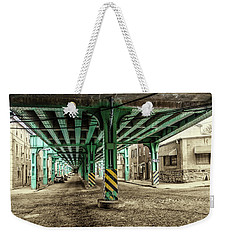 Weekender Tote Bag featuring the photograph Cresson Street Elevated Railroad In Sepia And Color by Bill Cannon