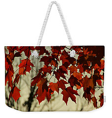 Weekender Tote Bag featuring the photograph Crimson Red Autumn Leaves by Chris Berry