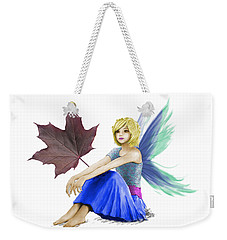 Crimson King Maple Tree Fairy With A Leaf Weekender Tote Bag