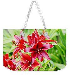 Crimson Lilies Weekender Tote Bag