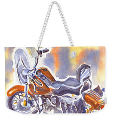 Crimson Motorcycle In Watercolor Weekender Tote Bag