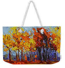 Weekender Tote Bag featuring the painting Crispy Autumn Day Landscape Forest Trees - Modern Impressionist Knife Palette Oil Painting by Patricia Awapara