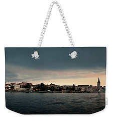 Croatian Town Of Porec At Dusk Weekender Tote Bag