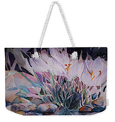 Weekender Tote Bag featuring the painting Crocuses by Mindy Newman