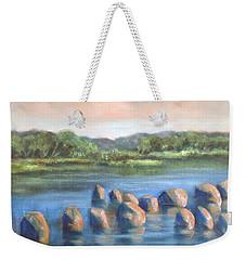 Weekender Tote Bag featuring the painting Cross Of Rocks  by Randol Burns