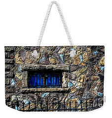 Cross Stained Glass Window Weekender Tote Bag by Brenda Bostic