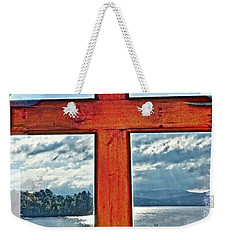 Cross Window Lake View  Weekender Tote Bag