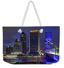 Crossing The Main Street Bridge - Jacksonville - Florida - Cityscape Weekender Tote Bag by Jason Politte