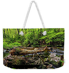 Weekender Tote Bag featuring the photograph Crossing The Stream by Christopher Holmes