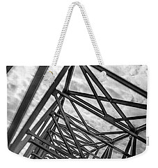 Weekender Tote Bag featuring the photograph Crossing Through The Chesapeake Bay Bridge by T Brian Jones