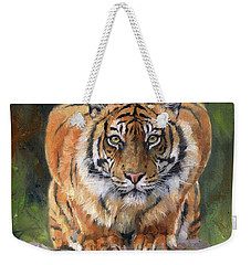 Weekender Tote Bag featuring the painting Crouching Tiger by David Stribbling