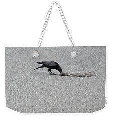 Weekender Tote Bag featuring the photograph Crow Chowing Down by Marie Neder