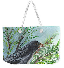 Weekender Tote Bag featuring the painting Crow by Karen Ferrand Carroll