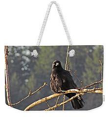 Weekender Tote Bag featuring the digital art Crow Morning  by I'ina Van Lawick