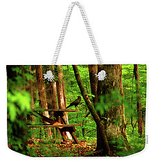 Crow On A Table Weekender Tote Bag by Andy Lawless