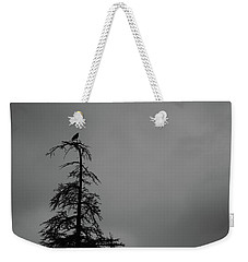 Crow Perched On Tree Top - Black And White Weekender Tote Bag