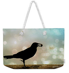 Weekender Tote Bag featuring the photograph Crow With Pistachio by Benanne Stiens