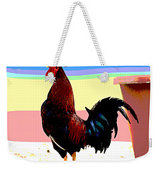 Weekender Tote Bag featuring the mixed media Crowing Cock by Charles Shoup