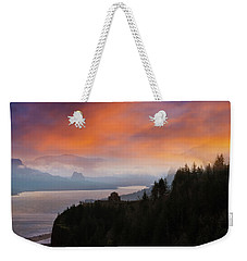 Crown Point At Columbia River Gorge During Sunrise Weekender Tote Bag