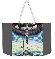 Weekender Tote Bag featuring the painting Crucifixion Scene by Dave Luebbert