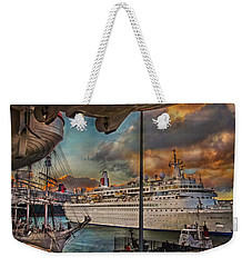 Weekender Tote Bag featuring the photograph Cruise Port by Hanny Heim