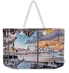 Weekender Tote Bag featuring the photograph Cruise Port - Light by Hanny Heim