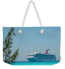 Cruise Ship At Half Moon Cay Weekender Tote Bag