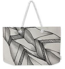 Weekender Tote Bag featuring the drawing Crumpled by Jan Steinle