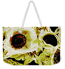 Weekender Tote Bag featuring the photograph Crumpled White Poppies by Sarah Loft