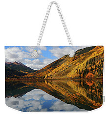 Weekender Tote Bag featuring the photograph Crystal Lake Autumn Reflection by Jetson Nguyen
