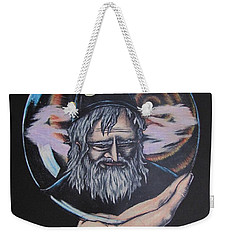 Weekender Tote Bag featuring the drawing Crystal Wizard by Michael  TMAD Finney