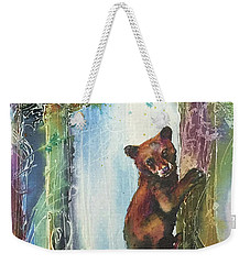 Weekender Tote Bag featuring the painting Cub Bear Climbing by Christy Freeman