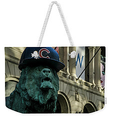 Cub Hat On Art Institute Lion Telephoto Weekender Tote Bag