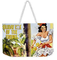Cuba Holiday Isle Of The Tropics Vintage Poster Weekender Tote Bag by Carsten Reisinger