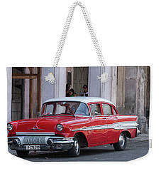 Cuban Red Car Weekender Tote Bag by David Warrington