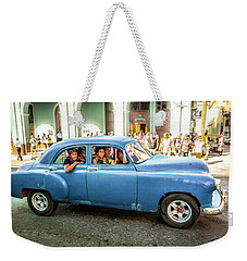 Weekender Tote Bag featuring the photograph Cuban Taxi by Lou Novick