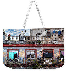 Weekender Tote Bag featuring the photograph Cuban Woman At Calle Bernaza Havana Cuba by Charles Harden