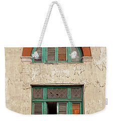 Weekender Tote Bag featuring the photograph Cuban Woman On San Pedro Balcony Havana Cuba by Charles Harden