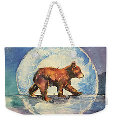 Weekender Tote Bag featuring the painting Cubbie Bear by Christy Freeman