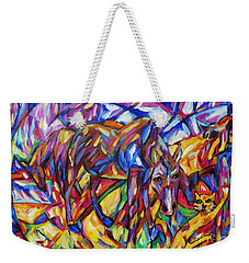 Weekender Tote Bag featuring the painting Cubist Cat Horse Interaction by Dianne  Connolly