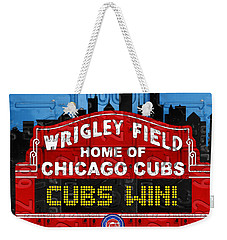 Cubs Win Wrigley Field Chicago Illinois Recycled Vintage License Plate Baseball Team Art Weekender Tote Bag by Design Turnpike