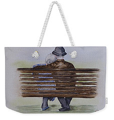 Weekender Tote Bag featuring the painting Cuddling Is Ageless by Kelly Mills