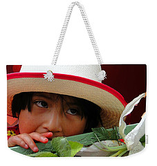 Weekender Tote Bag featuring the photograph Cuenca Kids 887 by Al Bourassa