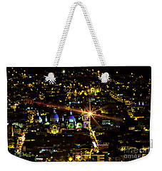 Weekender Tote Bag featuring the photograph Cuenca's Historic District At Night by Al Bourassa