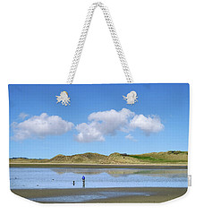 Culleenamore, Strandhill, Sligo - A Man And A Dog Cycle Over The Water To The Dunes On A Sunny Day Weekender Tote Bag